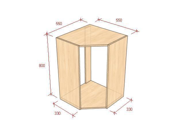 На рисунке показан навесной угловой модуль