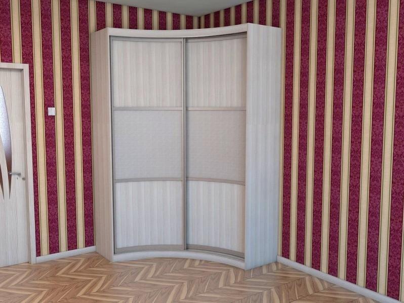 Радиусный белый шкаф