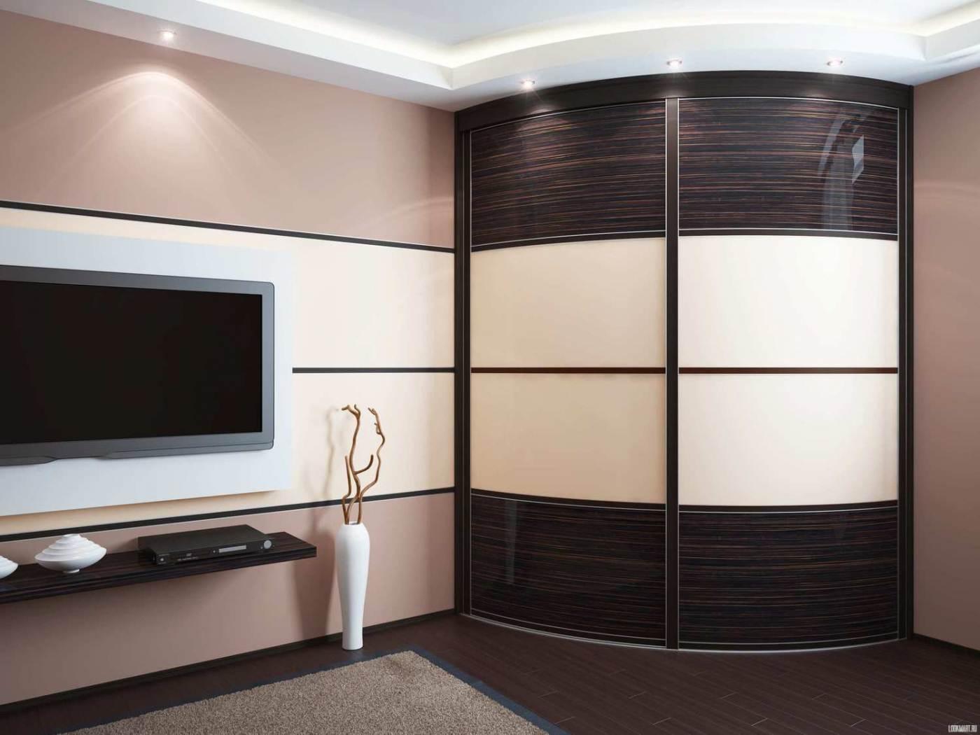 Радиусный шкаф для гостиной