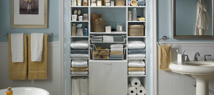 Различные полочки могут служить для хранения нужных в ванной предметов