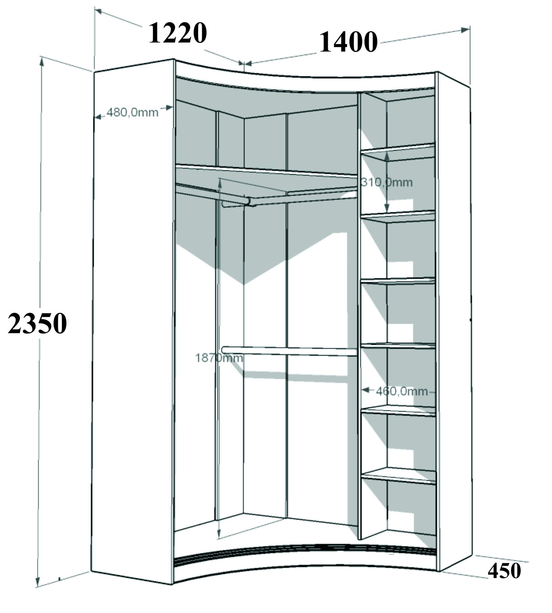 Размеры радиусного шкафа