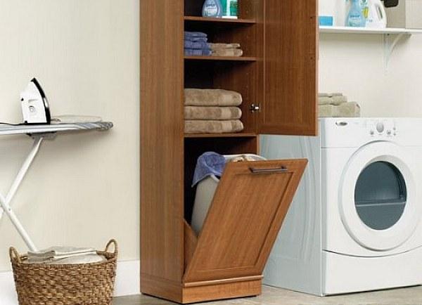 Шкаф-пенал с корзиной для ванной