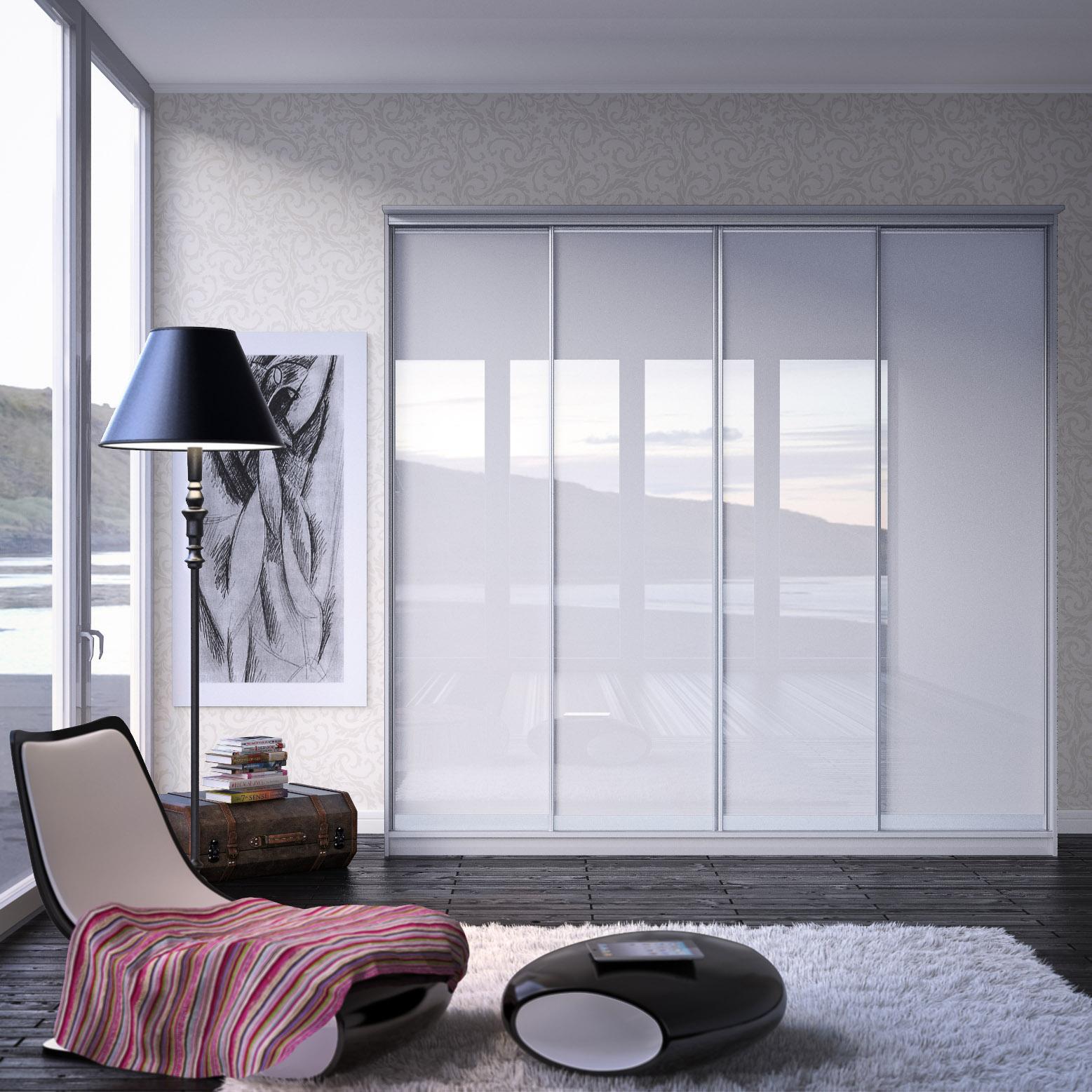 Шкаф с раздвижными дверями из белого глянцевого стекла