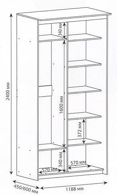 Схема узкого встроенного шкафа