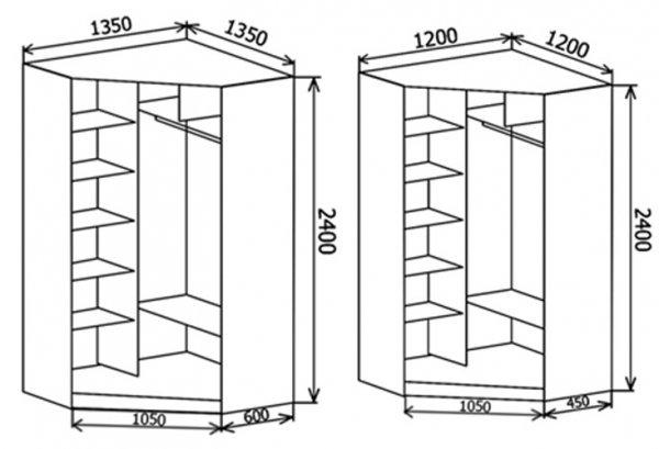 Схемы угловых шкафов