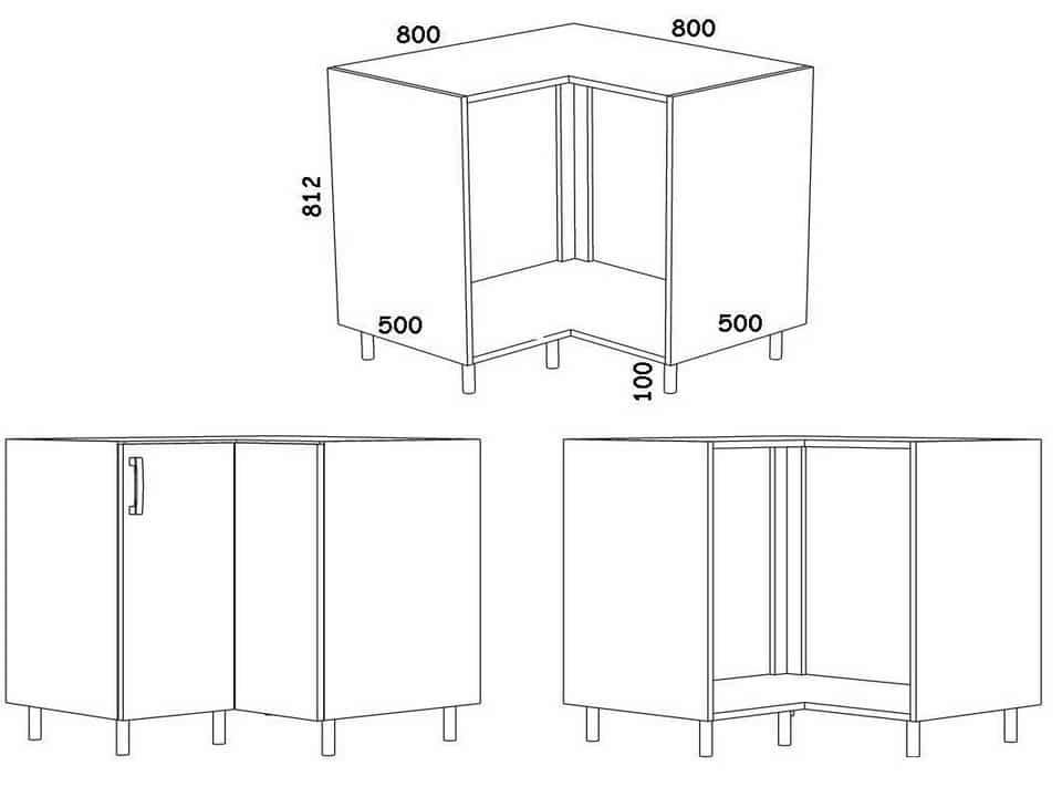 Типовые размеры кухонных шкафов угловой