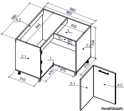 Угловой комплект кухонной мебели