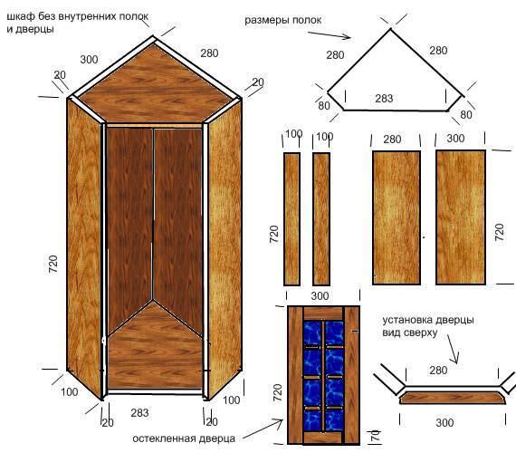 Угловой навесной шкафчик для кухни своими руками