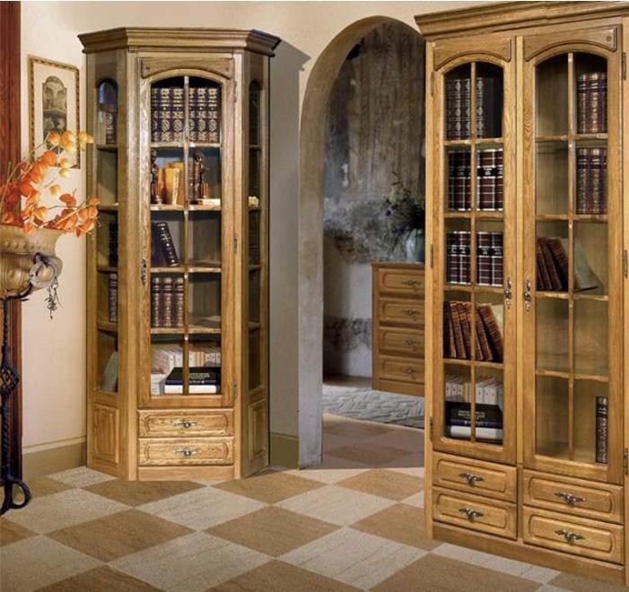 Угловой шкаф с правой дверью и стеклянными полками