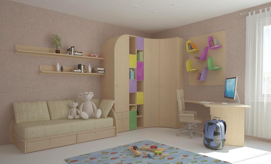 Угловой шкаф в детскую комнату для мальчика
