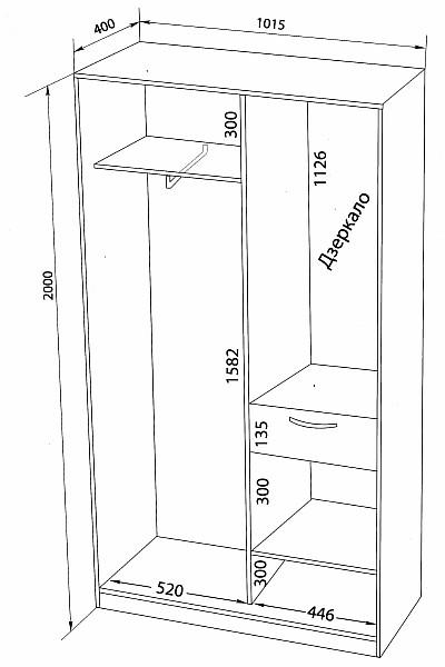 Узкий шкаф с размерами