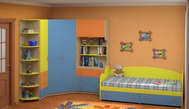 Яркий угловой шкаф