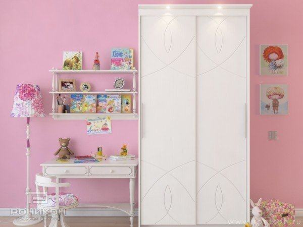 Белый шкаф в комнату девочки