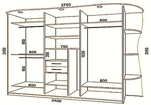 Большой шкаф с размерами