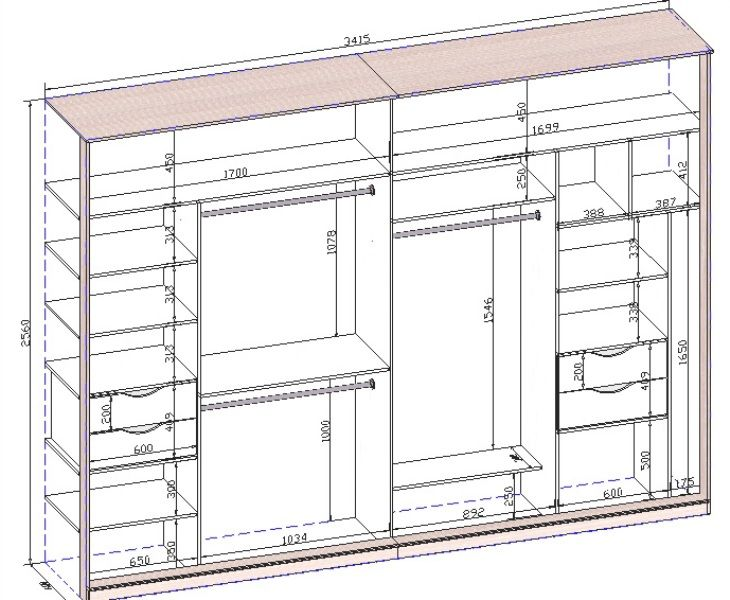 Длинный узкий шкаф