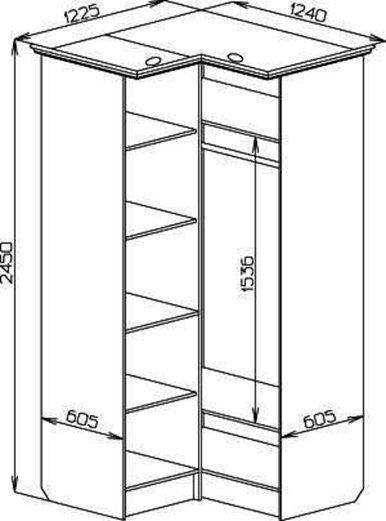 Г-образный угловой шкаф с размерами