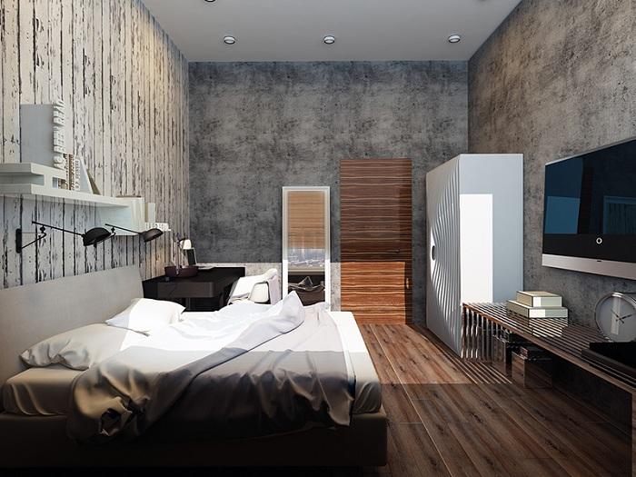Хорошая спальня с большим количеством разной текстуры