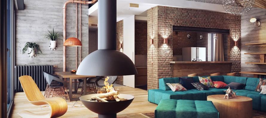 Интерьер гостиной, выполненный в стиле лофт