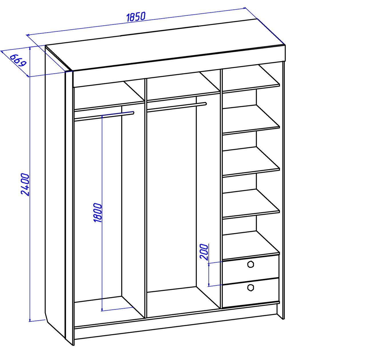 Шкаф купе с размерами для одежды фото.