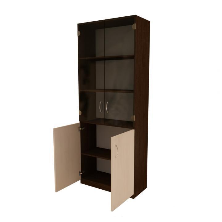 Офисный шкаф стеклянные и простые дверки