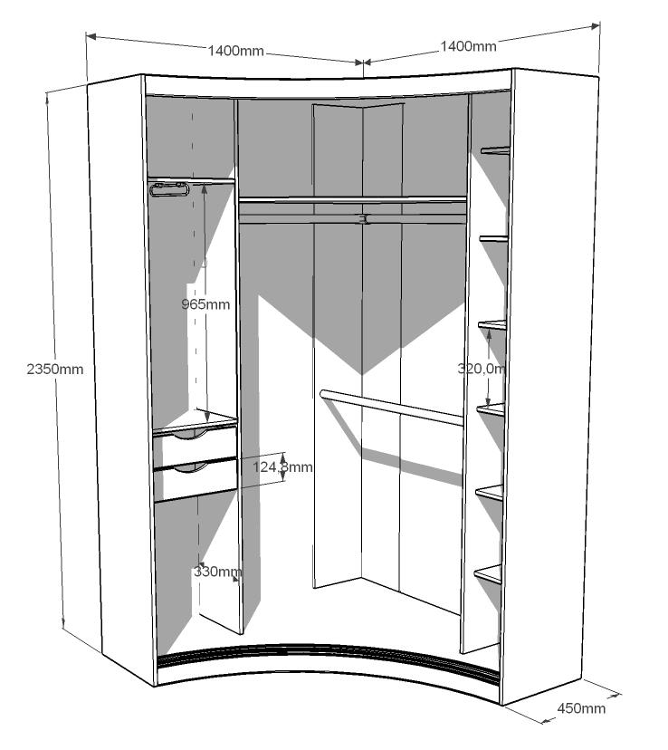 Полукруглый угловой шкаф-купе