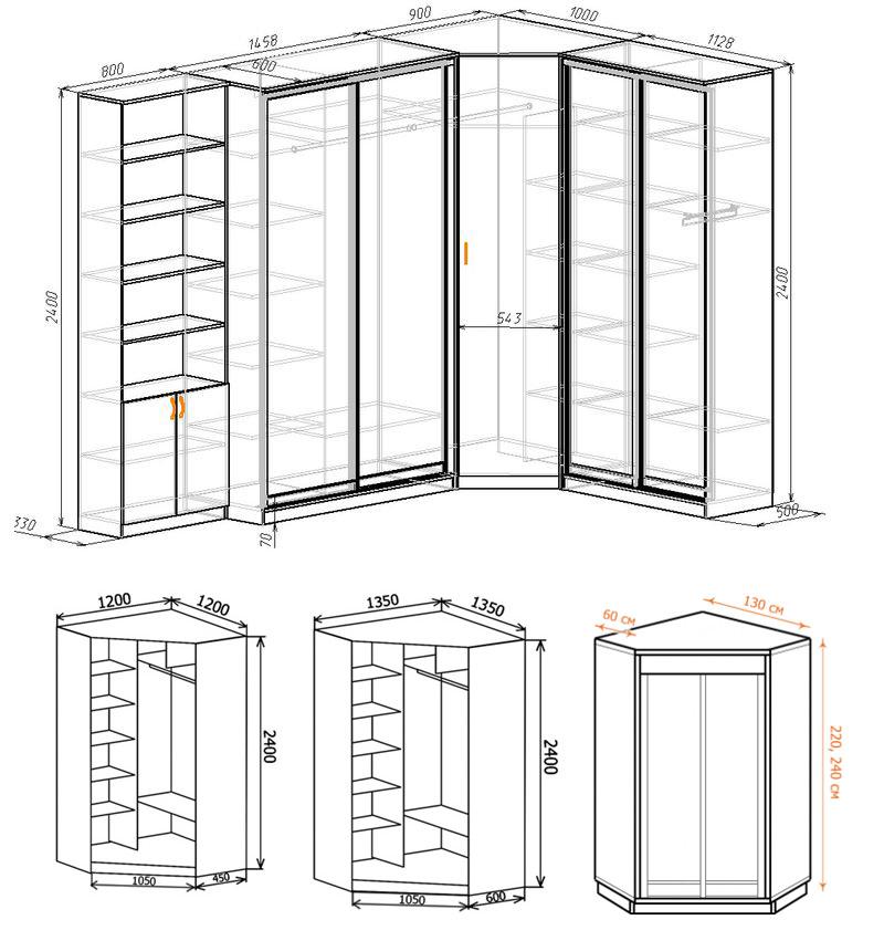 Примеры схем угловых шкафов с размерами