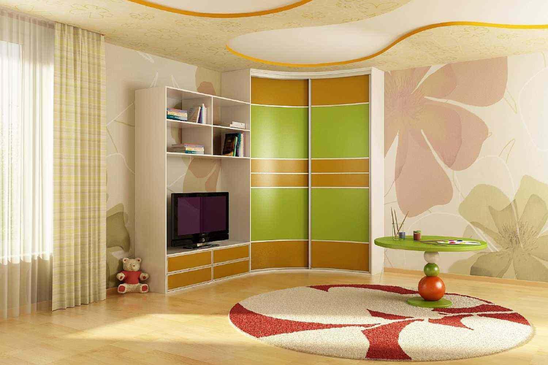 Радиусный шкаф в детской