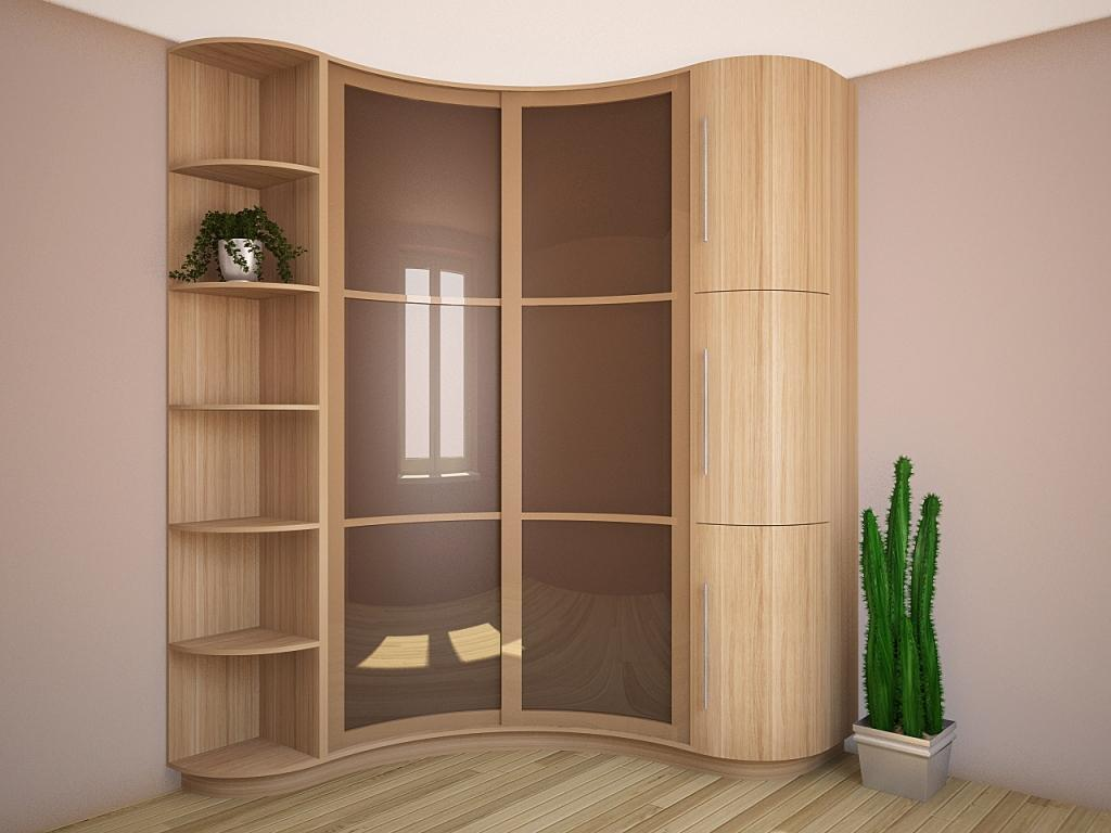 Радиусный узкий шкаф