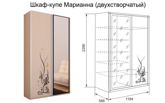Размеры двустворчатого шкафа