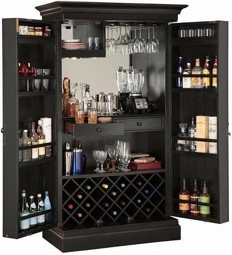 Шкаф бар в черном цвете