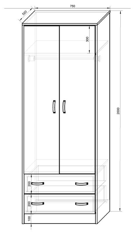 Схема и размеры шкафа
