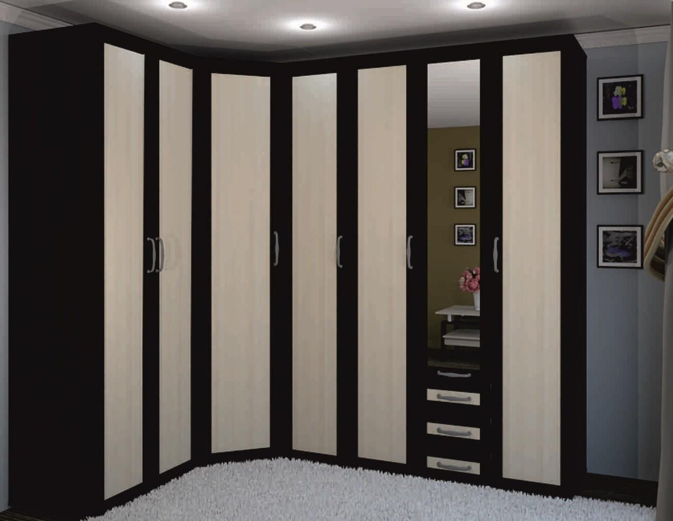Темный шкаф распашной в интерьере
