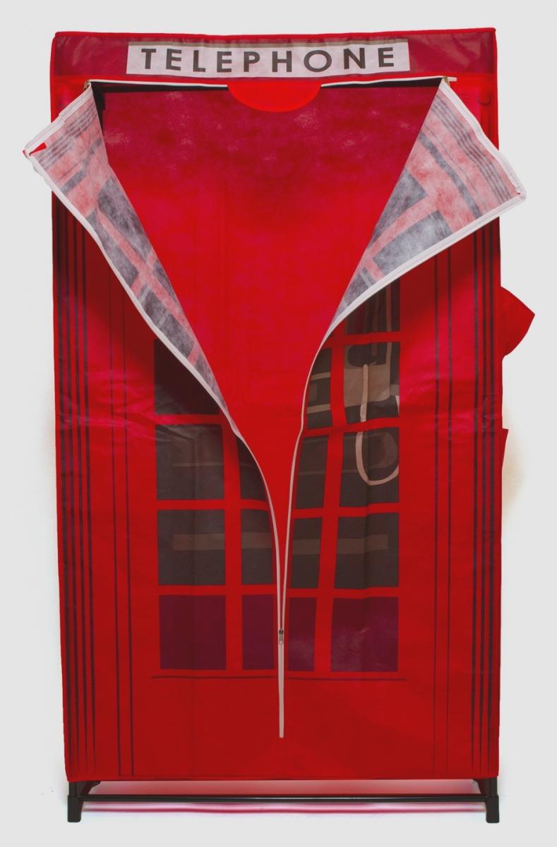 Тканевый шкаф для одежды с перекладиной