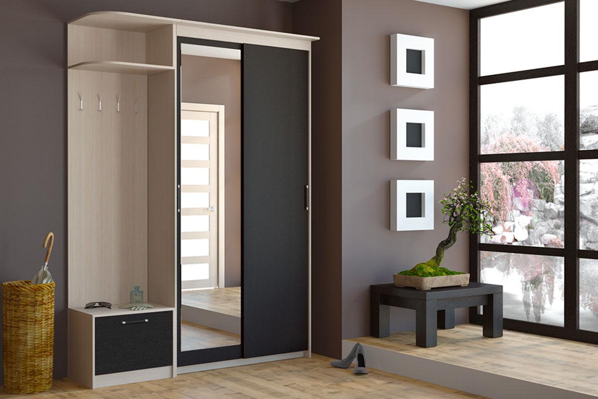 Высокий черно-белый шкаф