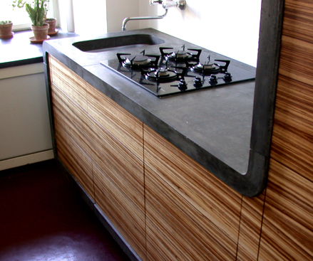 Бетонные покрытия на кухне