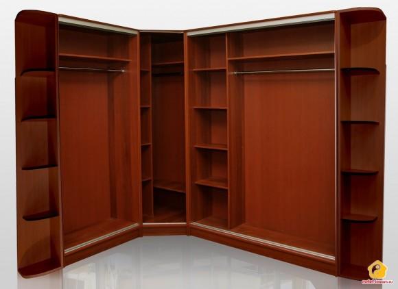 Большой угловой шкаф для одежды в спальню