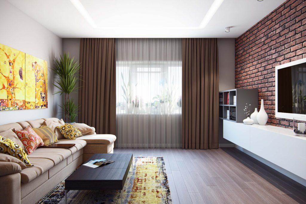 Дизайнерское решение для прямоугольной комнаты