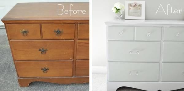 До и после реставрации комода