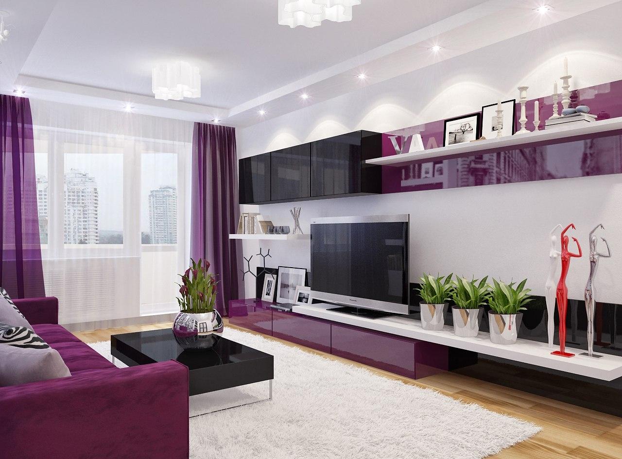 Фиолетовая мебель и ее применение в гостиной