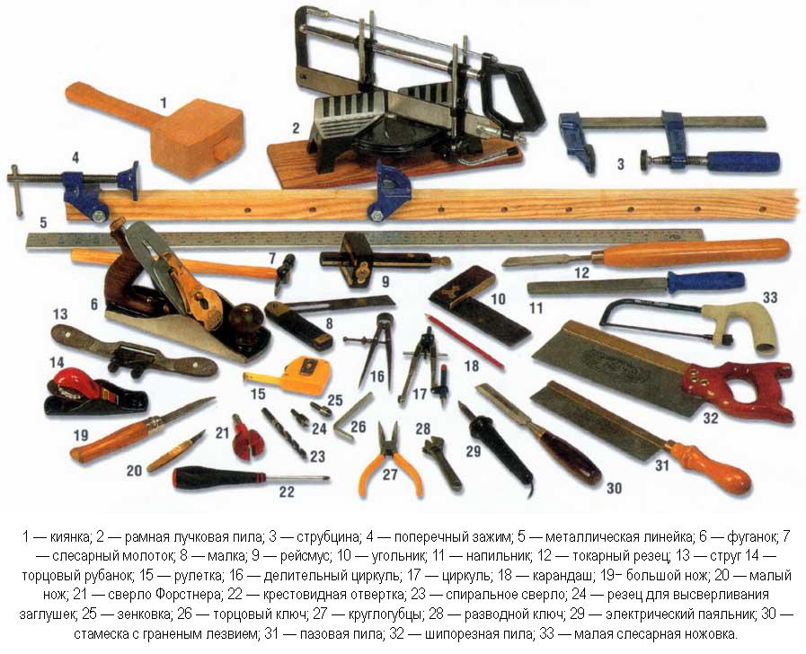 Инструменты для изготовления садовой мебели
