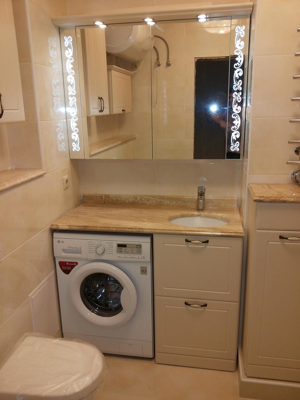 Как встроить стиральную машину в ванной комнате, идеи