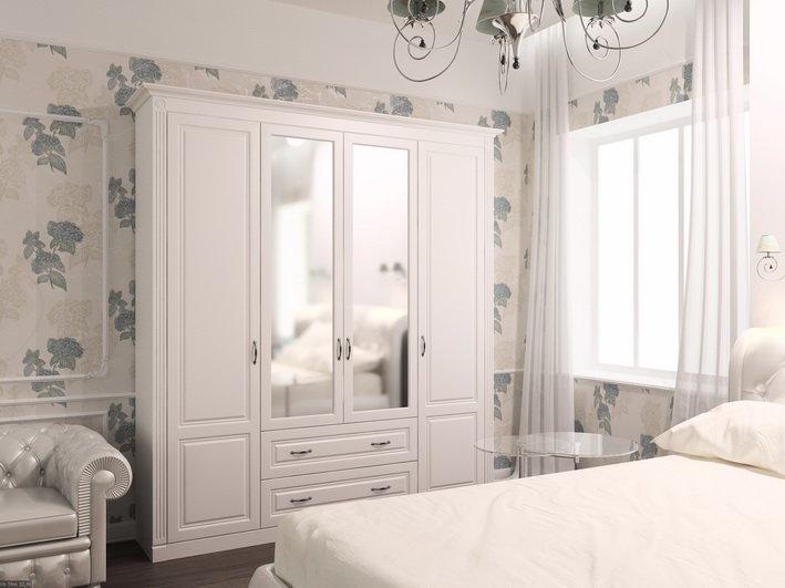Корпусная мебель, выполненная в белом цвете