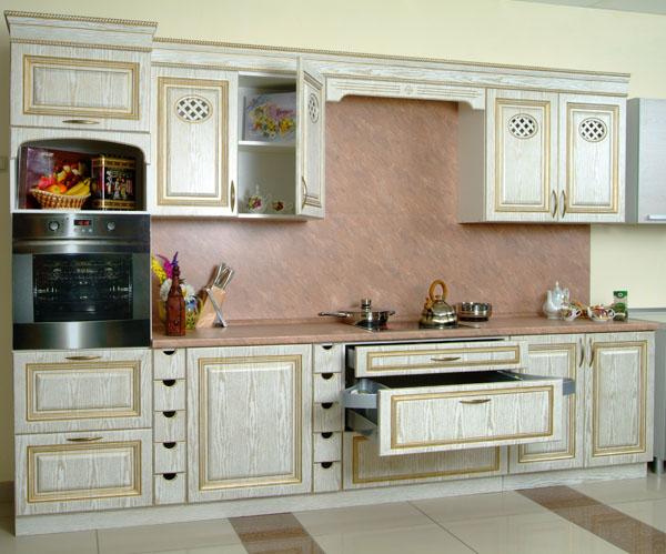 Крашеные покрытия прямой кухни