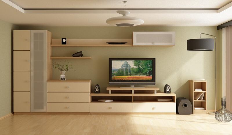 Красивые корпусные элементы в гостиной