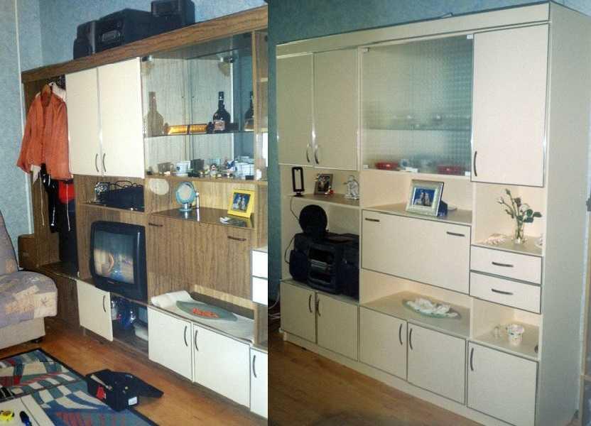 Мебелная стенка до и после