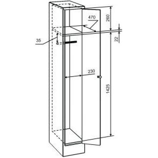Небольшой металлический шкаф для одежды