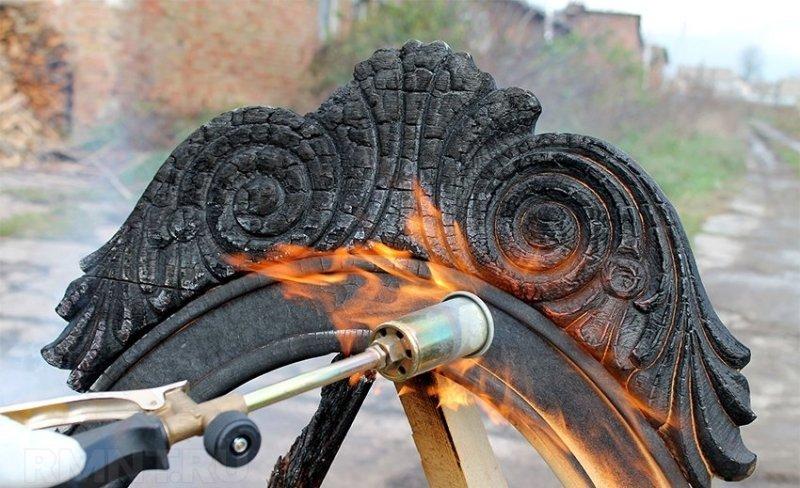 Обрботка деревянной мебели огнем
