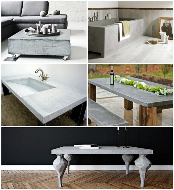 Применение бетона при изготовлении мебели