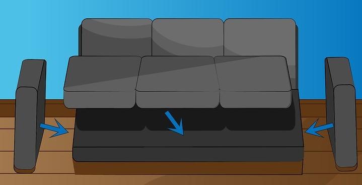 Проводим натяжку ткани на диван