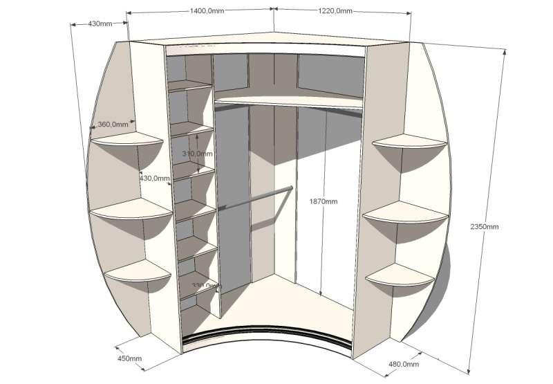 Размеры большого радиусного шкафа